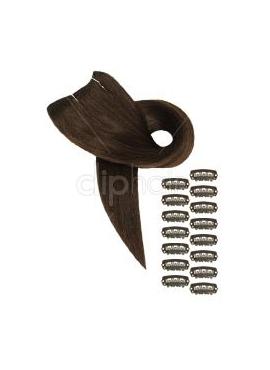 Farve 4 chokoladebrun, Luksus Remy Clip on, 50 cm langt, 90 gram