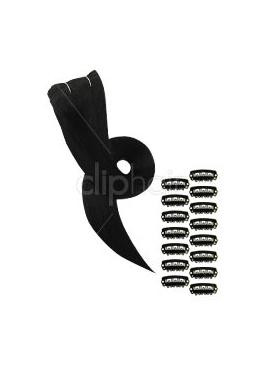 1 Sort, clip in luksus remy hair extension, 3 baner, 60 cm, 75 gram