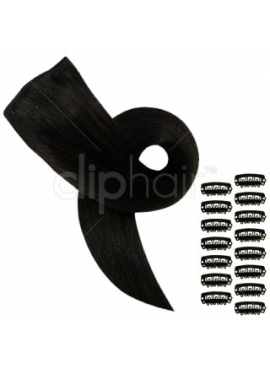 1B Sort/Brun, clip in luksus remy hair extension, 3 baner, 60 cm